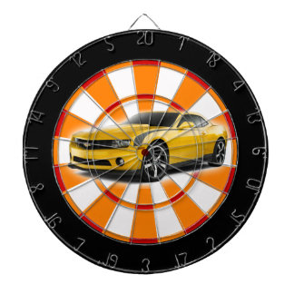Yellow and black sports car dart board