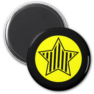 Yellow and Black Star Round Magnet