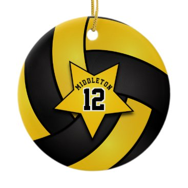 Beach Themed Yellow and Black Star Volleyball Ceramic Ornament