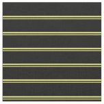 [ Thumbnail: Yellow and Black Striped/Lined Pattern Fabric ]