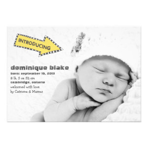 Yellow and Black Stripes Arrow Birth Announcement