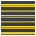 [ Thumbnail: Yellow and Black Stripes/Lines Pattern Fabric ]