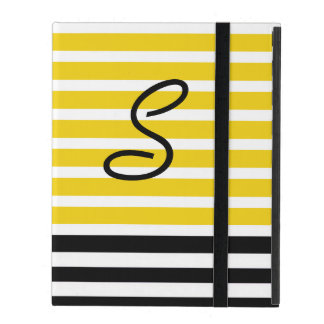 Yellow and Black Stripes Monogrammed iPad Case