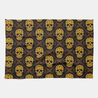 Yellow and Black Sugar Skull Pattern Hand Towel