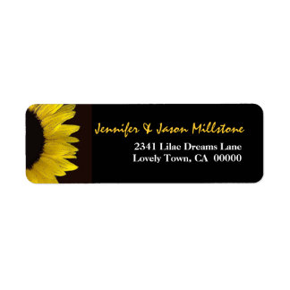 Yellow and Black Sunflower Modern Wedding Label