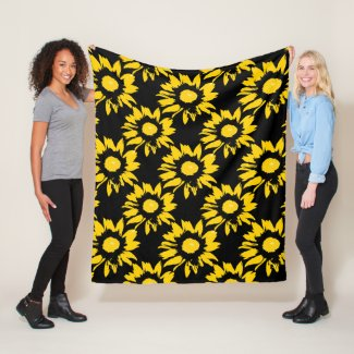 Yellow and Black Sunflower Pattern Fleece Blanket