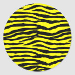 Yellow and Black Tiger Stripes Classic Round Sticker