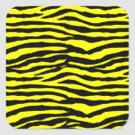 Yellow and Black Tiger Stripes Square Sticker