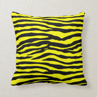 Yellow and Black Tiger Stripes Throw Pillow