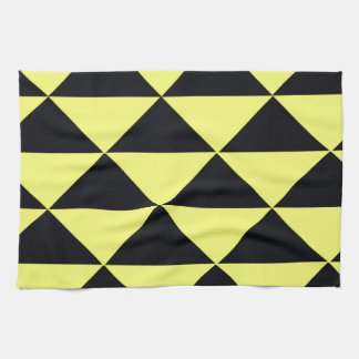 Yellow and Black Triangles Hand Towels