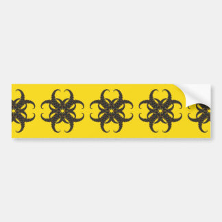 Yellow and Black Tribal Fractal Pattern Bumper Sticker