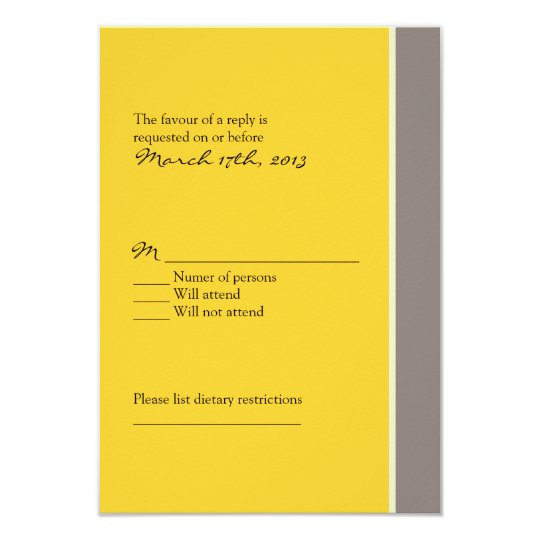Yellow and Black Wedding RSVP Card