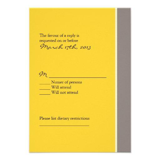 Yellow and Black Wedding RSVP Invites