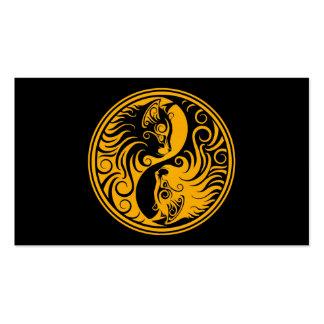 Yellow and Black Yin Yang Cats Business Card
