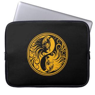 Yellow and Black Yin Yang Cats Computer Sleeve