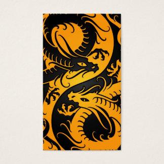 Yellow and Black Yin Yang Chinese Dragons Business Card