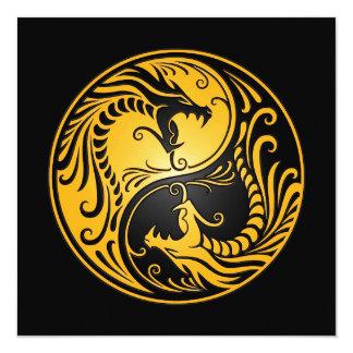 Yellow and Black Yin Yang Dragons Card