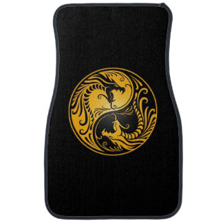 Yellow and Black Yin Yang Dragons Floor Mat