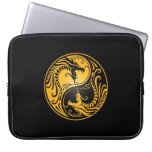 Yellow and Black Yin Yang Dragons Laptop Computer Sleeve