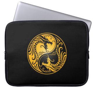 Yellow and Black Yin Yang Dragons Laptop Sleeve