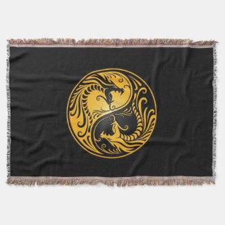 Yellow and Black Yin Yang Dragons Throw Blanket