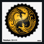 """Yellow and Black Yin Yang Dragons Wall Sticker<br><div class=""""desc"""">This stunning yin yang design features two stylized tribal dragons. Intricate lines and swirls decorate both sides of this traditional symbol creating a beautiful pattern. The two dragons flow from the bottom of the teardrop and have their mouths wide open in an aggressive stance. This unique yin yang makes a...</div>"""