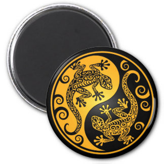 Yellow and Black Yin Yang Geckos 2 Inch Round Magnet