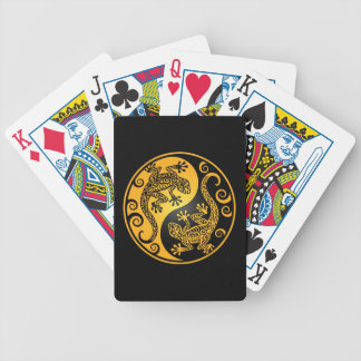 Yellow and Black Yin Yang Geckos Bicycle Playing Cards