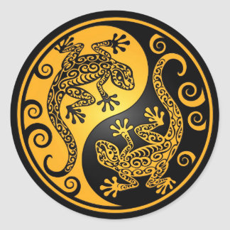 Yellow and Black Yin Yang Geckos Classic Round Sticker
