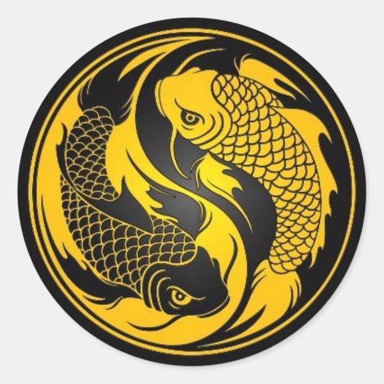 Yellow and Black Yin Yang Koi Fish Classic Round Sticker ...