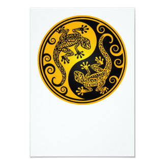 Yellow and Black Yin Yang Lizards Card
