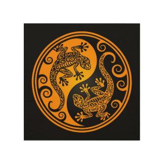 Yellow and Black Yin Yang Lizards Wood Print