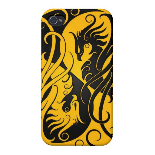 Yellow and Black Yin Yang Phoenix Case For iPhone 4