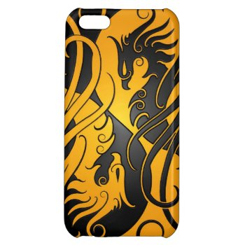 Yellow and Black Yin Yang Phoenix iPhone 5C Cover