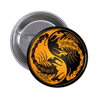 Yellow and Black Yin Yang Scorpions Buttons