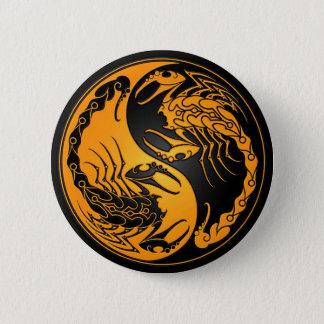Yellow and Black Yin Yang Scorpions Pinback Button