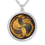 Yellow and Black Yin Yang Scorpions Round Pendant Necklace