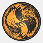 Yellow and Black Yin Yang Scorpions Round Stickers