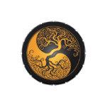 Yellow and Black Yin Yang Tree Candy Tins