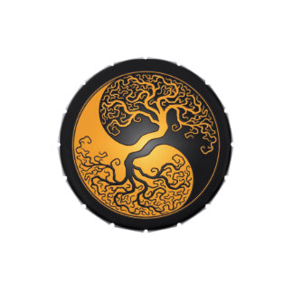 Yellow and Black Yin Yang Tree Jelly Belly Tins