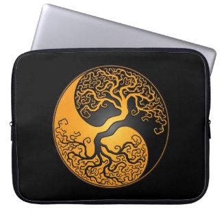 Yellow and Black Yin Yang Tree Laptop Computer Sleeve