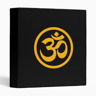 Yellow and Black Yoga Om Circle Vinyl Binders