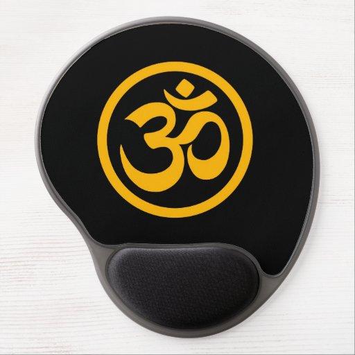 Yellow and Black Yoga Om Circle Gel Mousepad