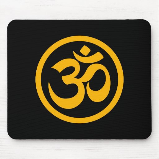 Yellow and Black Yoga Om Circle Mouse Pad