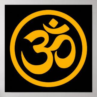 Yellow and Black Yoga Om Circle Poster