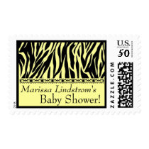 Yellow and  Black Zebra Baby Shower Custom Name Postage