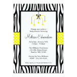 """Yellow and Black Zebra Heart Mobile Baby Shower 5"""" X 7"""" Invitation Card"""