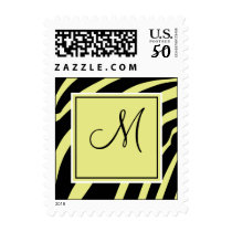 Yellow and Black Zebra Print Monogram Postage