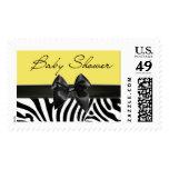 Yellow and Black Zebra Stripe Baby Shower Stamp