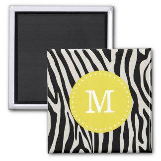 Yellow and Black Zebra Stripe Monogram 2 Inch Square Magnet